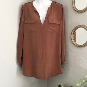 Joie 'Marlo' Silk Long Sleeve V-Neck Blouse